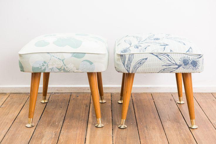Vintage footstools upholstered in Hakea & Silver Gum, hand printed onto 100% hemp.  www.inkandspindle.com.au