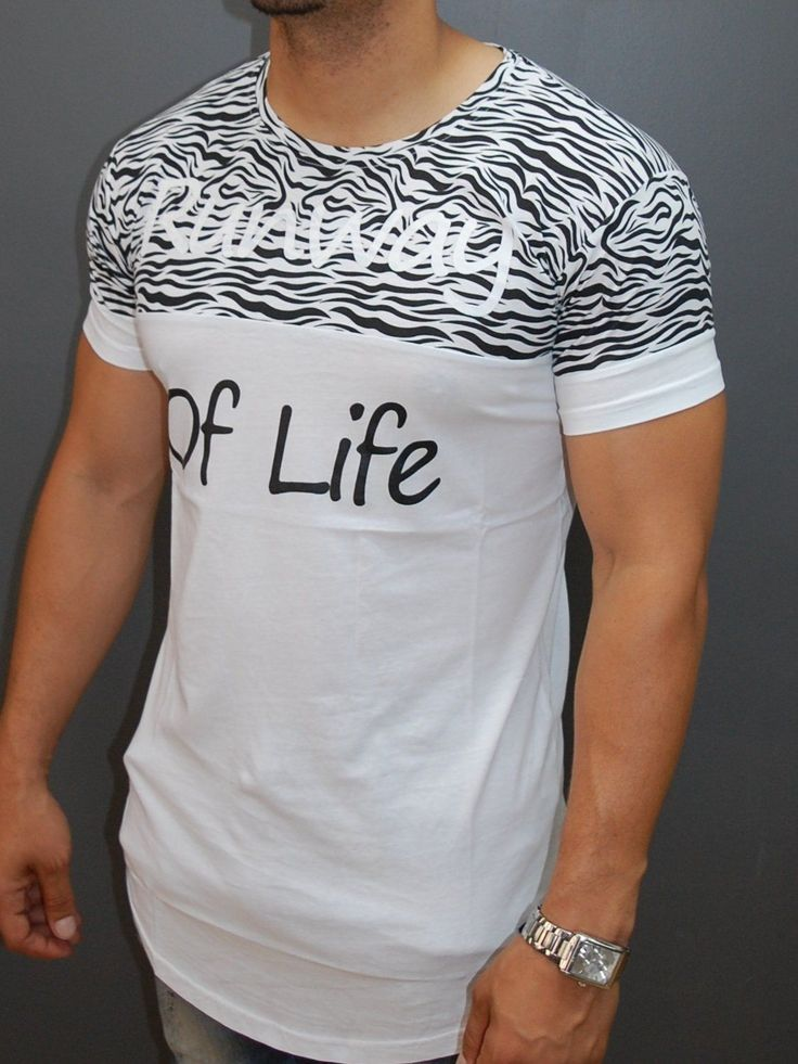 Men 3 Stars Chest Band T-shirt - White