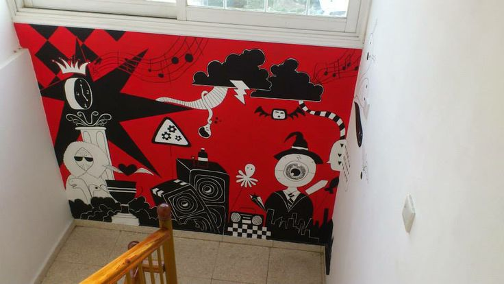 Red Black and White Wall Art