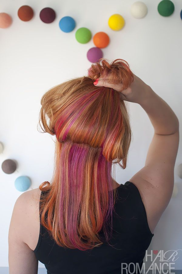 Hair Romance - the colour mullet - party colours underneath, business on top.