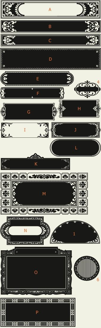 Letterhead Fonts / LHF Saratoga Panels 3 / Ribbons and Panels