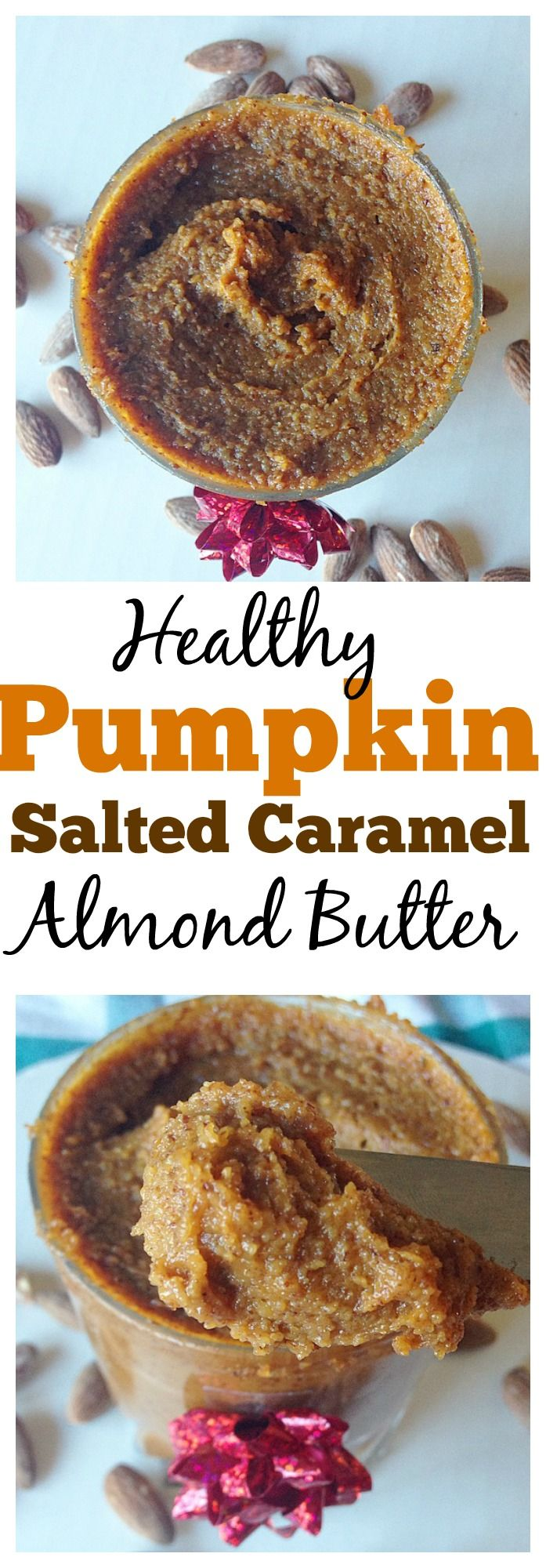This #healthy Pumpkin Salted Caramel Almond Butter does not only tasty gourmet and heavenly, but its also so darn easy to make! You'll be amazed at this finger-lickin' nut butter that you'll have a hard time eating it! One of my most pinned recipes! #vegan #paleo #pumpkin