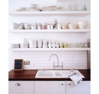 pictures of white cabinets white sink butcher block counters - Google Search