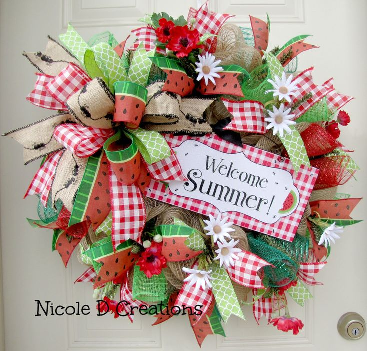 Spring Wreaths- Summer Wreaths- Front Door Wreaths- Deco Mesh Wreaths-  Watermelon Wreath by NicoleDCreations on Etsy https://www.etsy.com/listing/274364642/spring-wreaths-summer-wreaths-front-door