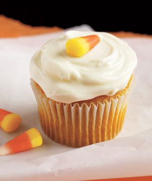 Makes 24 cupcakes| Hands-On Time: 15m | Total Time: 40m  Ingredients        * 1 18.5-ounce box yellow cake mix (plus the ingredients called for in the package directions)      * 1/2 teaspoon pumpkin pie spice      * 1 15-ounce can pumpkin puree      * 2 8-ounce bars cream cheese, at room temperature      * 2 cups confectioners' sugar      * 24 pieces candy corn    Directions       1. Heat oven to 350° F. Line two 12-cup muffin tins with paper liners. Prepare the cake mix as directed but with…