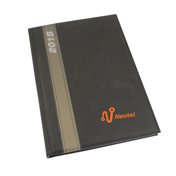 Acklin Diary A4 Black Product Size: 210w x 297h Branding: Screen print 1 colour  , Screen print 2 colours Material: leatherette