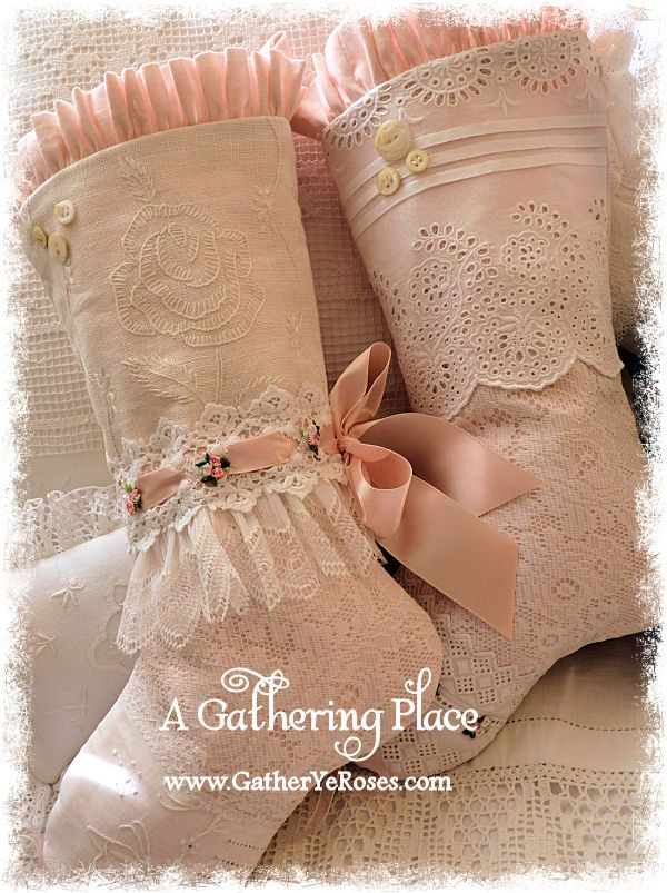 ~FRENCH FARMHOUSE CHRISTMAS STOCKINGS and PINK COTTAGE, TOO~