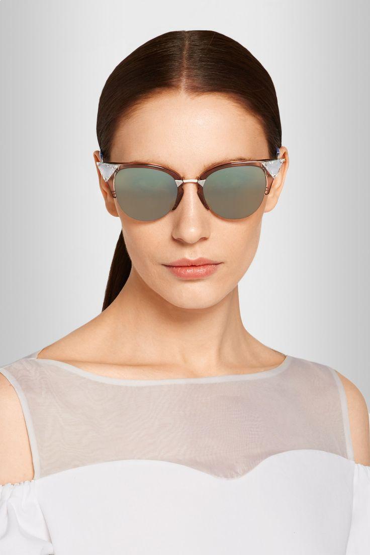 360b8dcffb476 Fendi Cat Eye Sunglasses Crystal