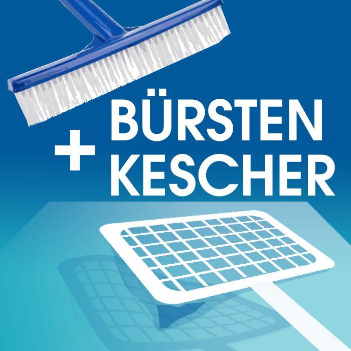 Mit Bürsten und Kescher halten Sie Ihren Pool sauber. Entfernen Sie Algenablagerungen oder fischen Sie Blätter, Gras und Insekten von der Wasseroberfläche oder vom Schwimmbadboden. Je weniger Verunreinigungen sich in Ihrem Schwimmbad befinden, desto weniger Chemikalien müssen für ein hygienisch einwandfreies Badewasser eingesetzt werden. http://starke-shop.de/bursten-netze-kescher