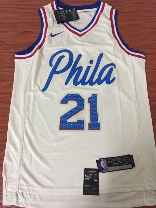 best service 00e33 3680b Men 21 Joel Embiid City Jersey White Philadelphia 76ers City ...