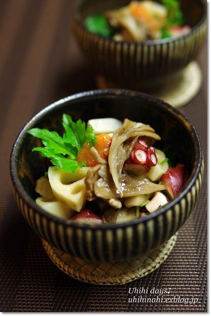 Photo: Japanese Tako Salad (Not Taco Salad). Renkon Root Lotus, Maitake Mushroom and TAKO Octopus|タコとれんこんと舞茸のもみじおろし和え