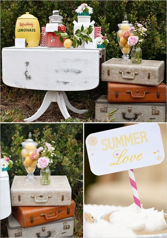 Summer vintage wedding decor - I like the jar of lemons next to the lemonade.