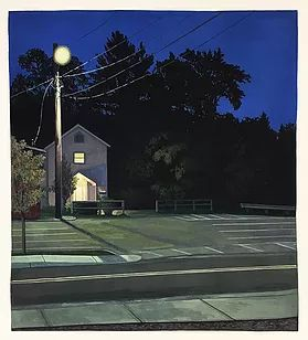 Maverick Studios at Dusk - Johnson, VT. Gouache on paper by Christopher Burk