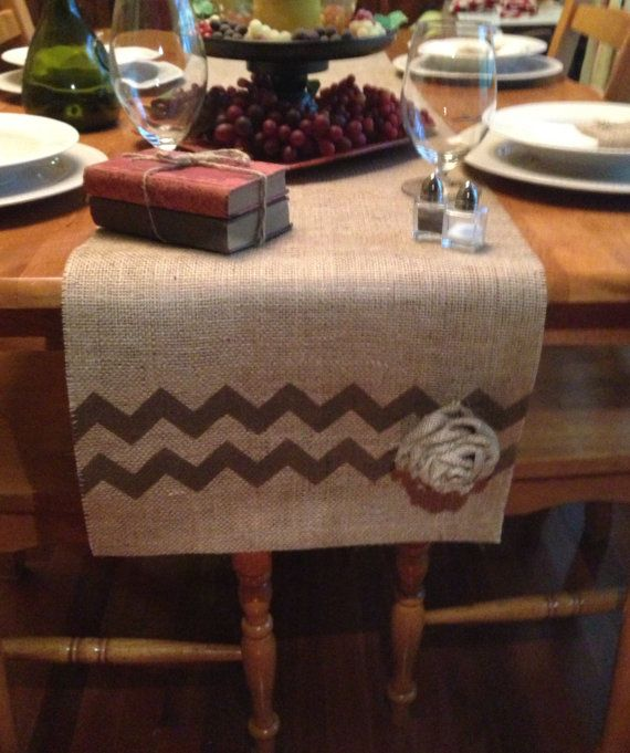 Burlap table runner 16 or 18 wide with chevrons and rose for Save on crafts burlap