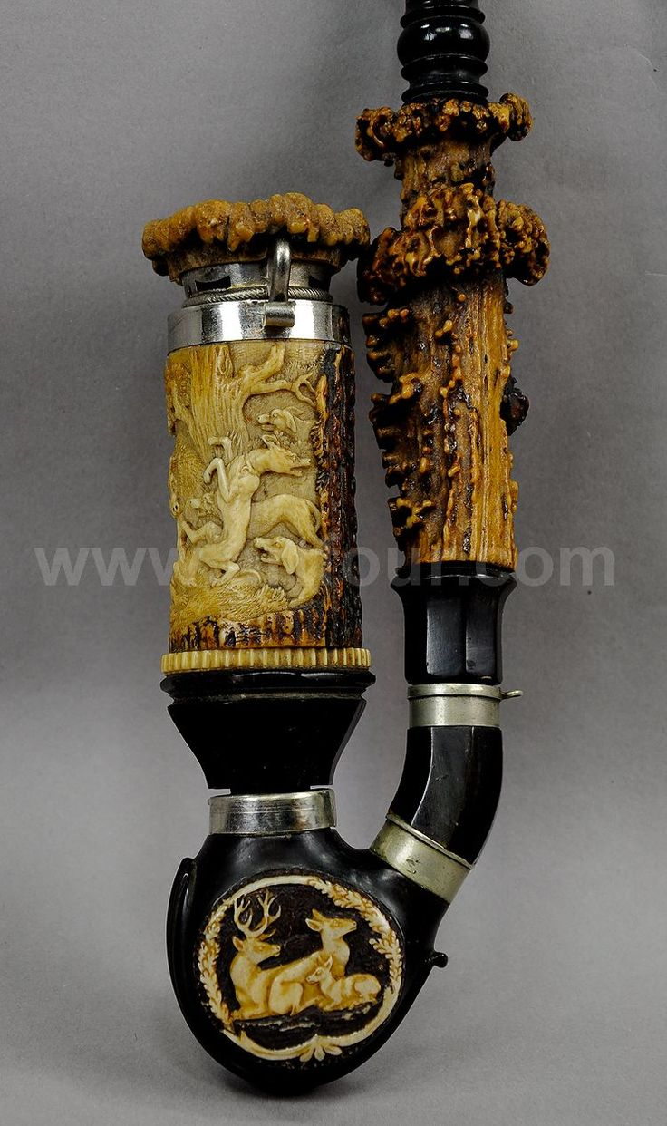great carved bavarian hunters pipe 1860