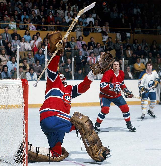 Canadiens goalie Ken Dryden makes a save at the old Memorial Auditorium in Buffalo!