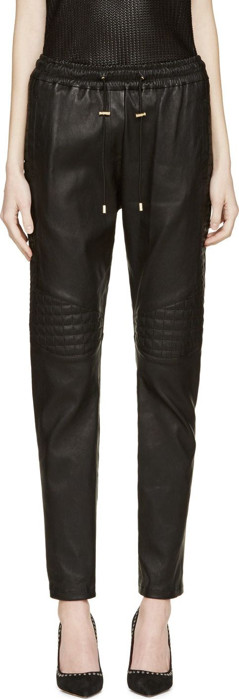 Balmain - Black Quilted Leather Trousers