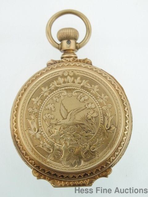 Heavy 14k Gold Elgin Antique Bumble Bee Bird Box Hinged Hunter Case Pocket Watch #Elgin