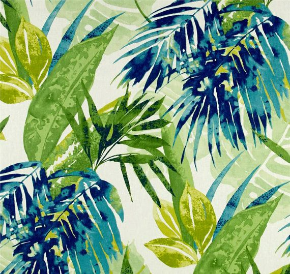 "Palm Leaf Window Curtains, Tropical Drapery Panels, Beach House Decor, Trendy Curtains, Blue Green Curtain Panels, Rod-Pocket, One Pair 50""W"