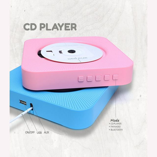 Lovely Source High quanlity portable classic bluetooth CD speaker wall hanging home hifi CD player with USB