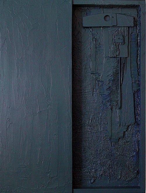 NOČNÍ SKUTEČNOST I.   THE NIGHT FACT I. - akryl, dřevo, nalezené předměty, kombinované technika. - acrylic, wood, found objects, mixed media. 60 x 80 cm, 2015