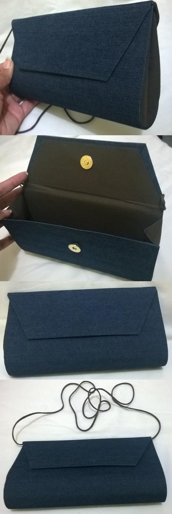 Bolsa feita com a técnica de cartonagem. Bolsa Jeans, forrada com tecido marrom 100% algodão. Pode ser usada com alça, alça não removível. (Ou pode colocar a alça para dentro e usar como bolsa de mão). Altura: 11. Comprimento: 21