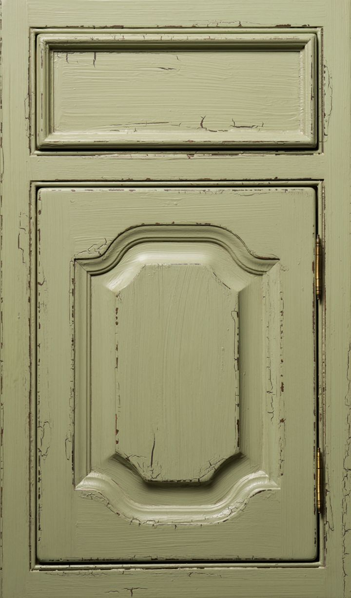 Maple door done in a Mayfair door style and finished in Pasture Green Brushmark Crackle