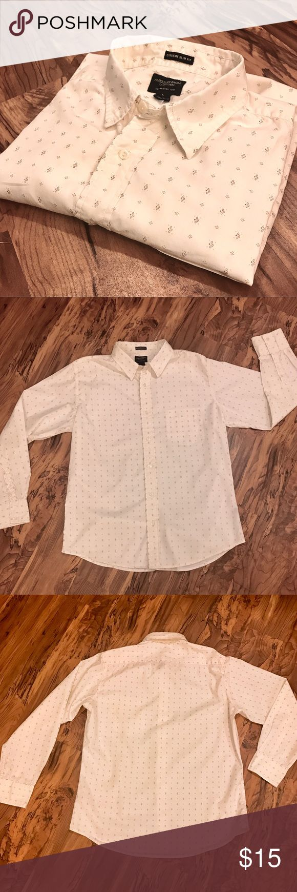Men's American Eagle long sleeve button down. EUC Vintage men's American Eagle shirt!! Such a beautiful piece. Off white/cream color with a subtle, but sharp looking pattern of small diamond shapes that make another small diamond. The pattern is what really makes the shirt so great. Button down, long sleeve. One slip breast pocket on left front. VGUC. Size is large. Any questions just ask! Offers always welcome! American Eagle Outfitters Shirts Casual Button Down Shirts