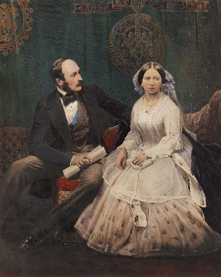 Queen Victoria (Alexandrina Victoria) (1819-1901) UK & husband Prince Albert (1819-1861) Germany. Hand-tinted image by unknown artist.
