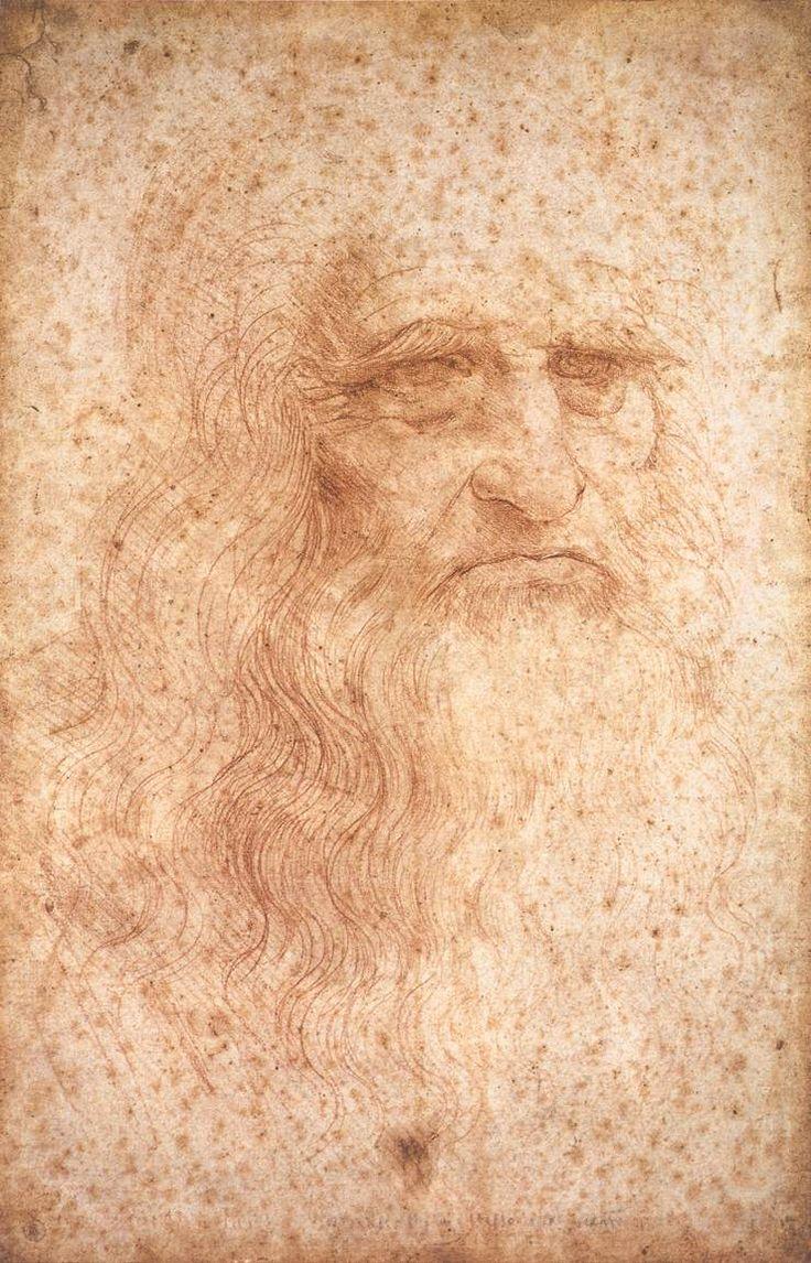 Autoportrait de Léonard de Vinci, Léonard de Vinci,  entre 1512 et 1515, Dessin à la sanguine sur papier, 33.3 x 21.4 cm