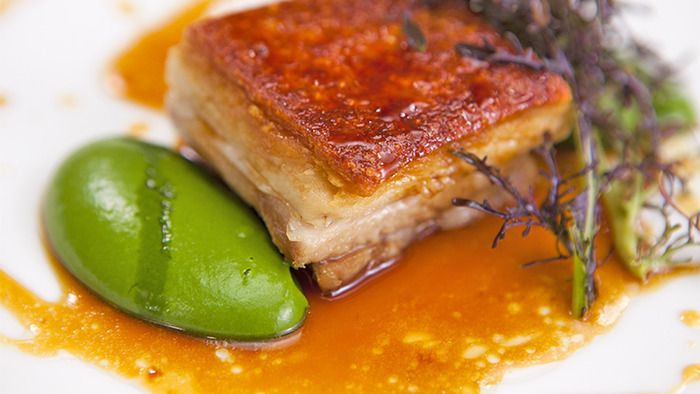 Everyday Gourmet. Crispy pork belly and spinach puree