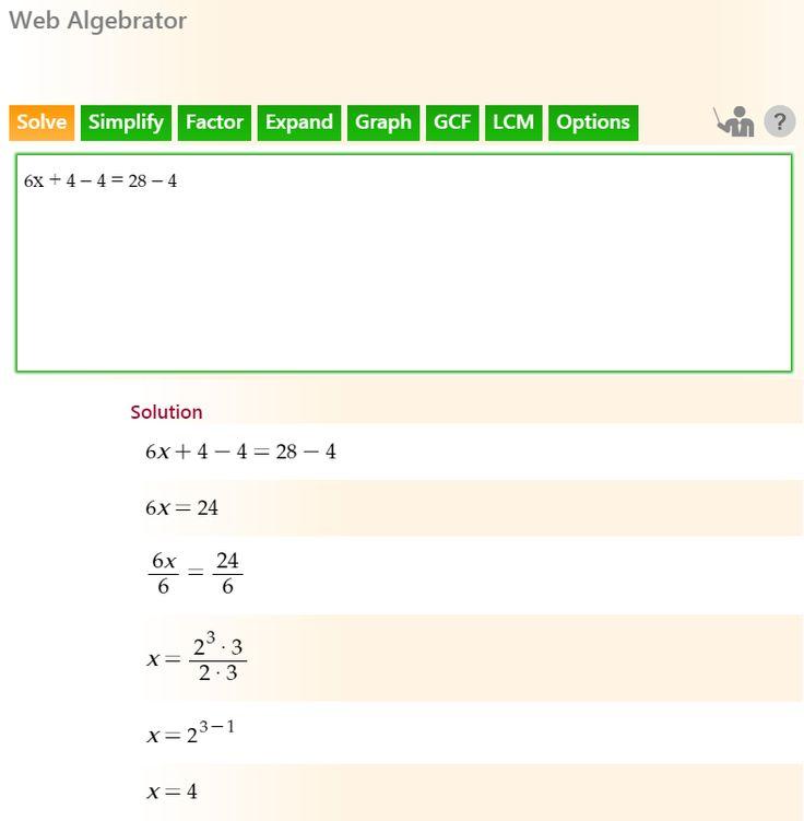 online algebra solver