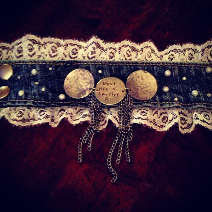 Denim cuff bracelet. Lace, pearl, and Swarovski crystal. Dust off and Cowgirl Up