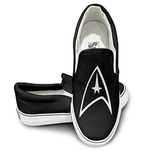 MGTER66 Star Trek Badge Logo Classic Canvas Shoes Slip On Unisex Style Color Black Size 42 -- Details can be found by clicking on the image.