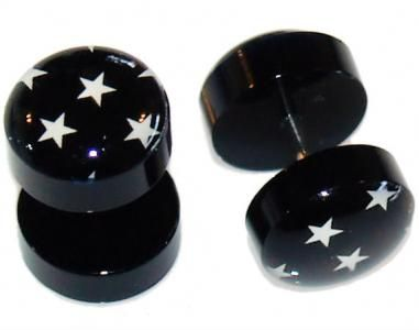 Pair of Star Logo Fake Gauges Plugs 16G by BodyJewelry
