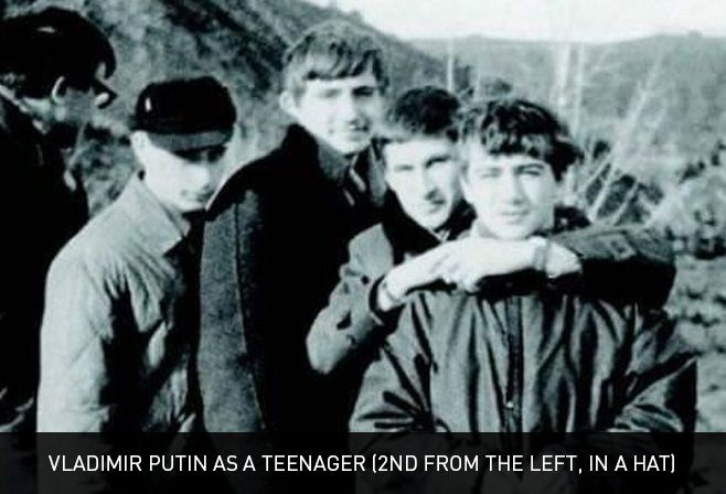 Vladimir Putin as a teenager (2nd from the left, in a hat)