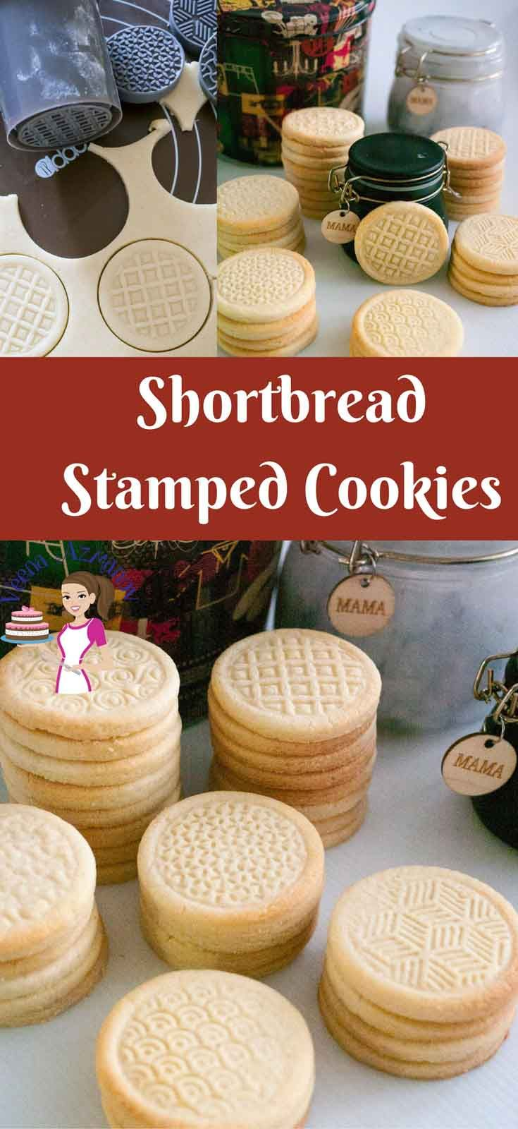 These shortbread stamped cookies are buttery and with a soft crumb that almost melt in the mouth. They are simple and easy to make so they are great when you need an afternoon tea cookie or if you want to gift them as festive treats | Veenaazmanov