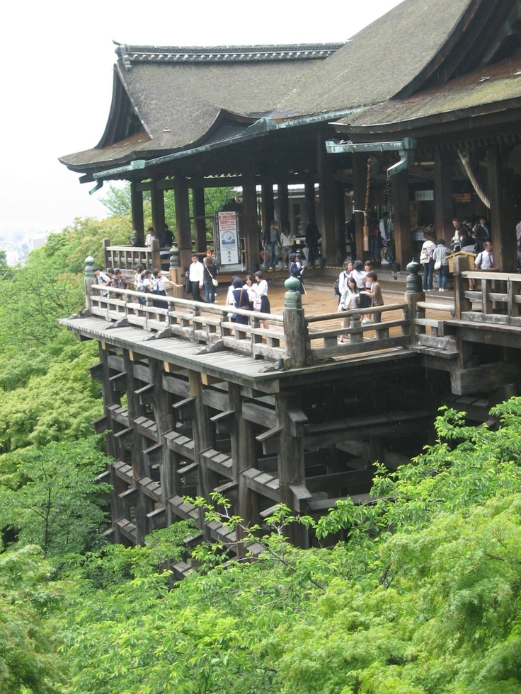 DONE!  Kiyomizu-dera was founded in the early Heian period.[2] The temple was founded in 798, and its present buildings were constructed in 1633, during a ordered by the Tokugawa Iemitsu.[3] There is not a single nail used in the entire structure. It takes its name from the waterfall within the complex, which runs off the nearby hills. Kiyomizu means clear water, or pure water. (Wikipedia)