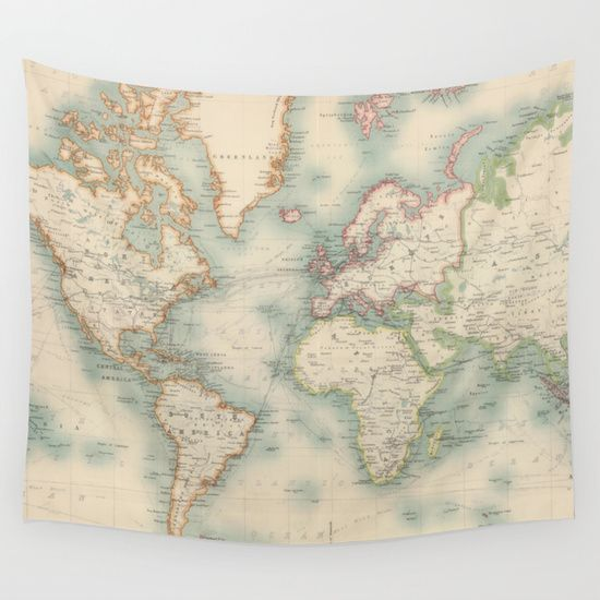 Vintage Map of The World 1911 Wall Tapestry Wall maps Vintage and Wall t