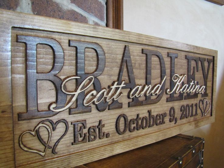 Personalized Family Name Signs CARVED Custom Wooden Sign Last name Wedding Gift Established Anniversary custom personalized sign. $59.99, via Etsy.