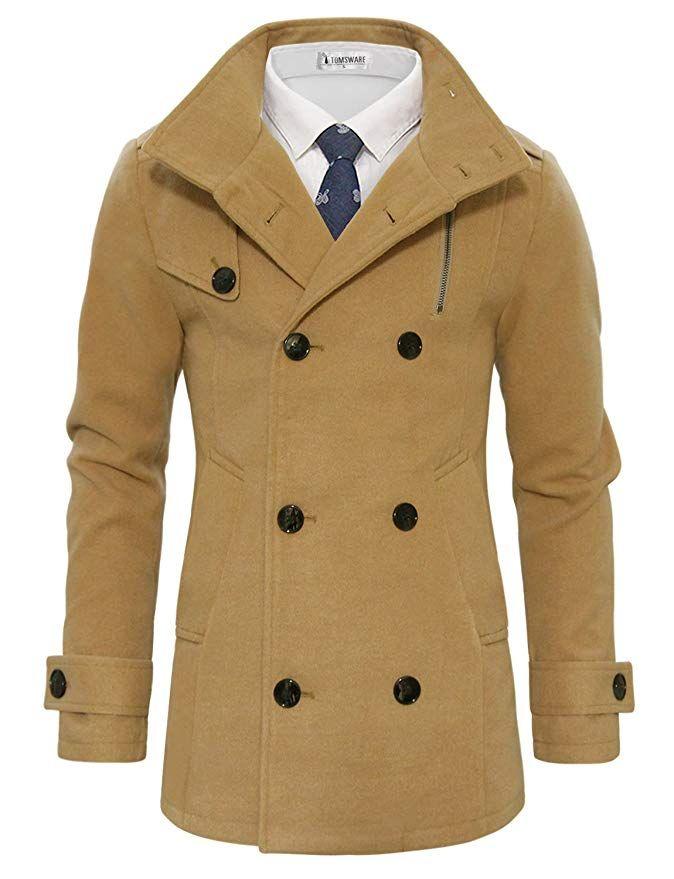 89b6542f9ef7 [Affiliate] Tom's Ware Men's Stylish Wool Blend Pea Coat TWCC05LQ-C11-BLACK