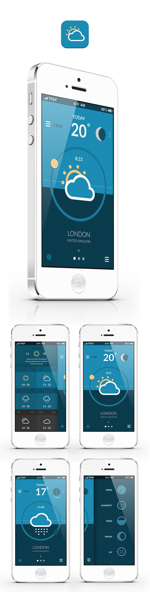 Weather App by Gordon Latimer, via Behance