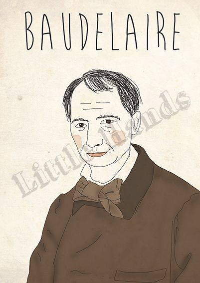Baudelaire  Digital Illustration  * Printed in recycled 300g paper   * Size A3 ( 42cm x 29.7cm ) - If you are looking for other size please get in touch!  * We are more than happy to create custom work, if you have a request please get in touch and we will do everything in our power to make your life/walls complete.  Thank you for visiting Little Hands Prints!