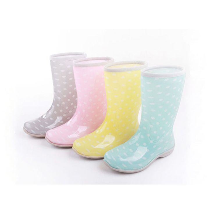 Free shipping women's boots Polka Dot Rain boots cute Rainboots beautiful glossy #other #FashionMidCalf