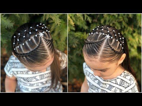 Peinado para niña fácil y rápido de hacer con ligas, trenzas y coleticas|LPH - YouTube