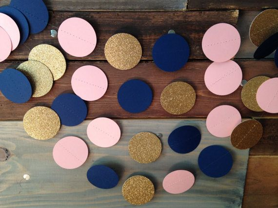 Navy Blue Pale Pink and Gold Glitter Paper by PartyMadePretty