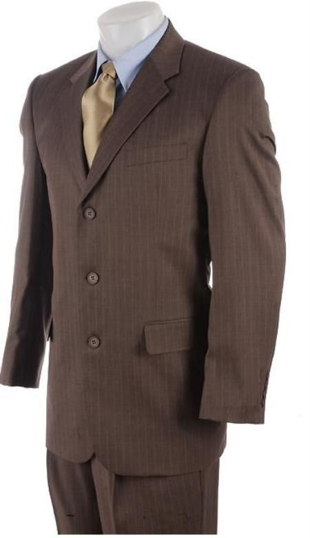 Men's 3 Button Mocha Brown Pinstriped Comfort Fit Poly Blend Light Weight Suit | MensITALY  Price: US $99