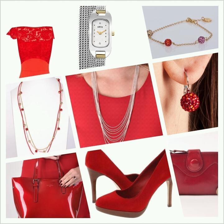 Combineer een rode kanten jurk met rode hakken en zilveren of gouden sieraden en opvallende rode laktas.