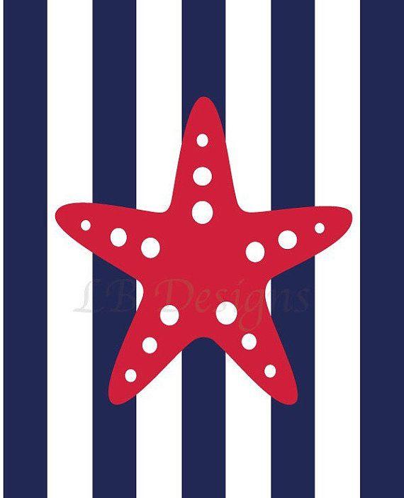 Rosso e Blu Navy vivaio vivaio nautico stampa stampa di LJBrodock