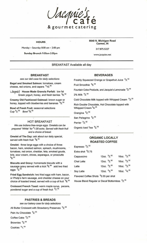 jacquie's cafe, indianapolis Breakfast menu, Wedding